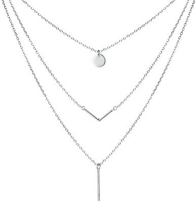 SILVER MOUNTAIN S925 Sterling Silver Triple Layer Pendant Choker Necklace for