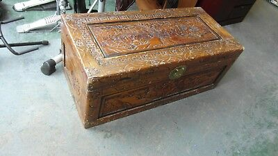 Large Oriental Style Carved Decorative Trunk Chest