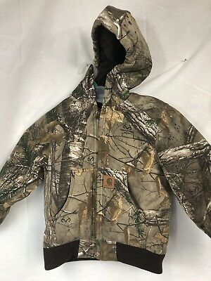 614b344a0a809 Carhartt Active Duck Jacket Quilted Lined Insulated Realtree Camo Boy's Xs 6