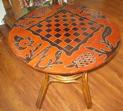 """Large Carved Wood Chess Ornate Wood Table for Set Tiki Mancala Game Board 31""""dia"""