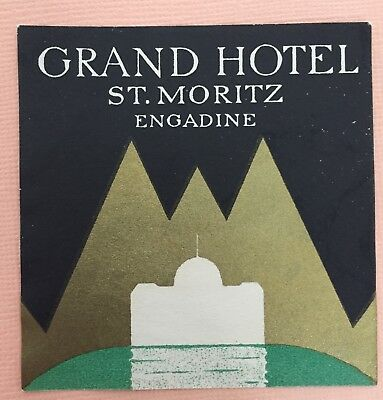 Luggage Label Grand Hotel St. Moritz, Engadine - Switzerland