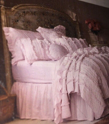 Pink Cottage Simply Shabby Chic Bedskirt Dust Ruffle Queen Cotton Rachel Ashwell