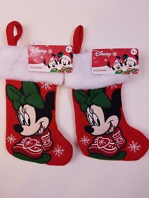 Minnie Mouse Stocking - red - Christmas Holidays - Lot of 2  - NEW! Disney