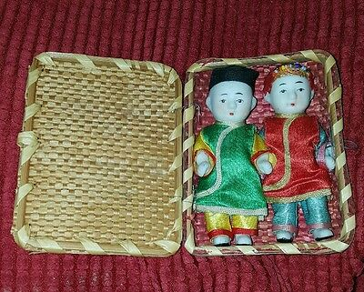 Vintage Bisque Chinese Man an Woman Dolls with Wicker Case