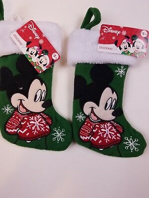 Mickey Mouse Stocking - green - Christmas Holidays - Lot of 2  - NEW! Disney