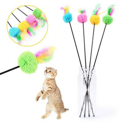 Cat Kitten Toy Pet Supply Ball Rod Wand Teaser Feather Play Games Random Color