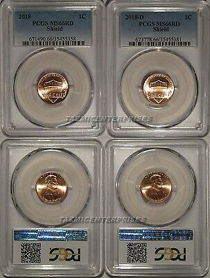 2018 P & D Lincoln SHIELD Cent 2 Coin Set 1c PCGS MS66RD