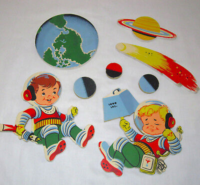 Vintage 1958 Dolly Toy Rocket Ranger Space Astronauts Nursery Pin-Up Wall Decor