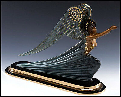 Large $18,000 ERTE Signed BRONZE Sculpture ANGEL Original ART DECO antique RARE