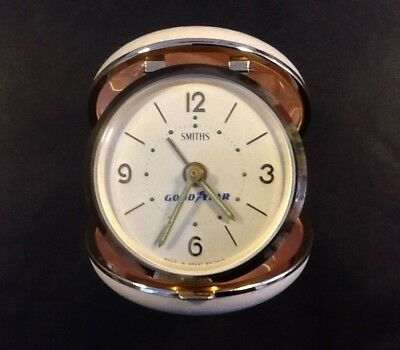 Vintage Smiths Goodyear Travel Alarm Clock, made in GB, in working order, Used
