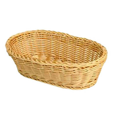 "Thunder Group PLBB1107 11"" x 7"" x 3-1/2"" Natural Tan Plastic Oval Basket"