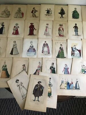 Lot of 30 Antique 19th Century Costume Etchings - Hand Painted