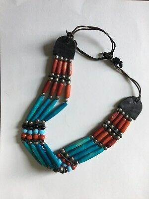 Vintage Native American Hairpipe Choker Necklace Bead leather metal