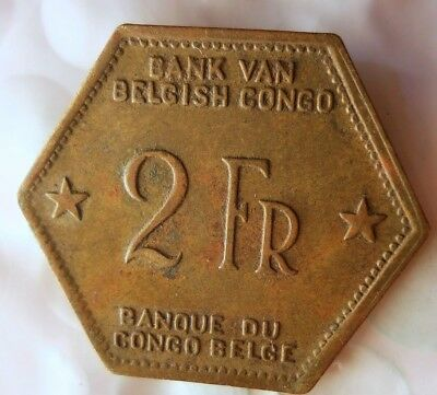 1943  BELGIAN CONGO 2 FRANCS - AU - VERY Rare Exotic African Coin - Lot #524