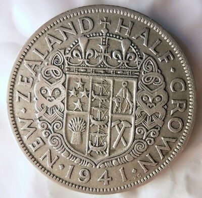 1941 NEW ZEALAND 1/2 CROWN - Rare Date - Low Mintage SILVER Coin - Lot #524