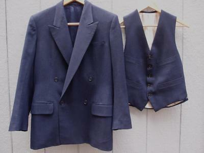VTG 30's 40's Blue Wool DB Suit Jacket and Vest - Hong Kong - 36