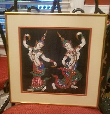 Vintage Thai Temple Silk painting Dancing Goddesses Framed & Matted Naked Nude