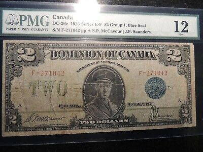 1923 DOMINION OF CANADA TWO DOLLARS $ 2 DC-26c PMG CERTIFIED FINE 12 BLUE SEAL