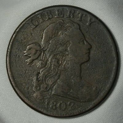 1802 Draped Bust Large Cent -- VG+ Condition