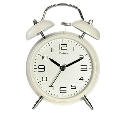 Twin Bell Loud Alarm Clock with Stereoscopic Dial Backlighted Peakeep 4 Inch