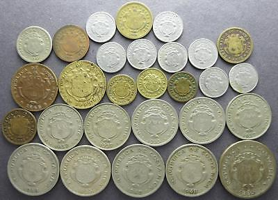 Costa Rica mixed older world coin lot, Centimos, 1910's to 1950's