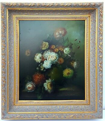 "Orig 34 x 30"" FLORAL STILL LIFE Oil Painting on Canvas Signed Wm Steiner William"