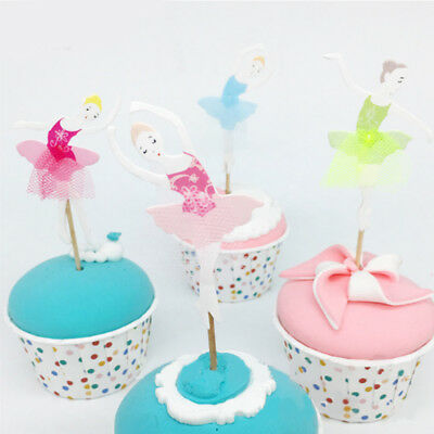 8pcs Ballet Girls Topper Flag Banner Cake Decoration Bakeware Supplies
