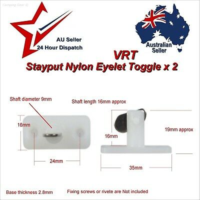 2 x Stayput Fasteners Vertical Single VRT Stay Put T Toggles canvas tarp awning