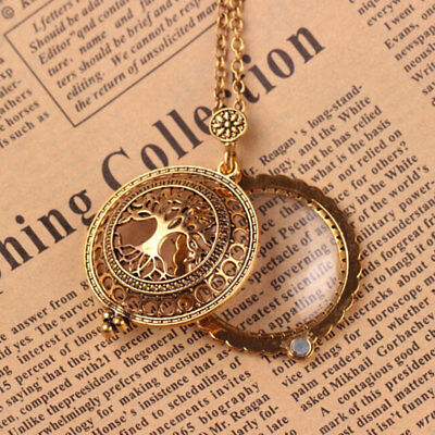 Steam Punk Gear Tree of Life Magnifying Glass Pendant Necklace Charm Jewelry