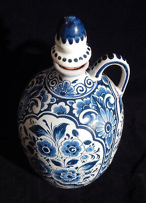 Delft Holland Vintage Jug Bottle With Stopper & Handle Blue On White Pottery