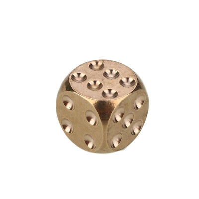 Golden Pure Copper Solid Dice Heavy Duty All Metal Shake Toys Recreation
