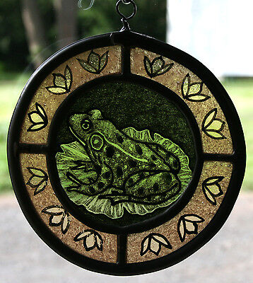 Stained Glass,Hand Painted,Kiln Fired, Panel, Green Frog, #1008-02