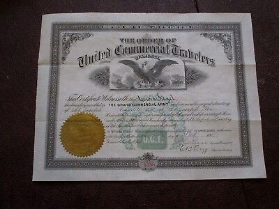Rare 1891 United Commercial Travelers Certificate. Columbus, Ohio.