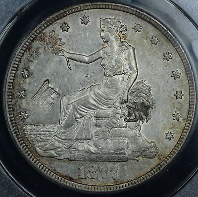 1877-S $1 Trade Dollar ANACS AU 53 DETAILS CHOPMARKED