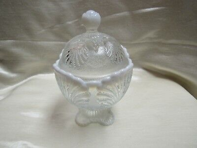 Circa 1970's Mosser Glass White Opalescent Shell Pattern Covered Candy Dish