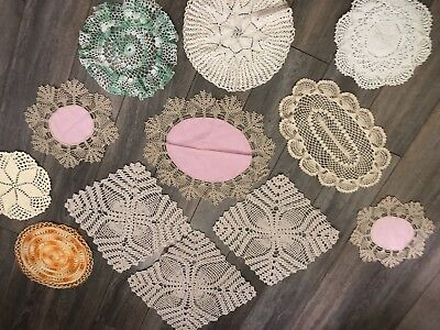 12 Vintage Handmade Doily Coloured Assortment Of Styles Crocheted By Hand