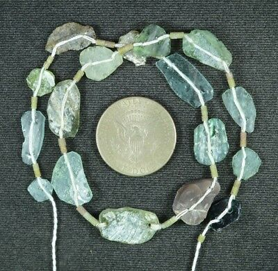 Ancient Roman Glass Beads 1 Medium Strand Aqua And Green 100 -200 Bc 837