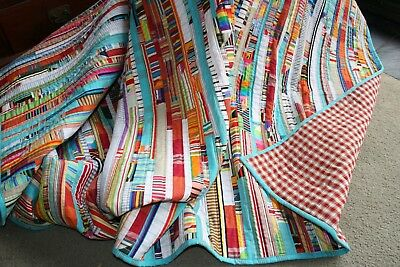"NEW - Hand Made Quilt ""STRIPEY STRIPPY"" Design by Quilt-Addicts 82"" x 77"""