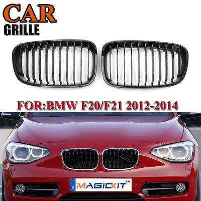 ABS Plastic Front Kidney Grilles For BMW F20 F21 1 Series 2012-2014 Glossy Black
