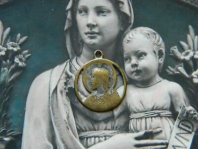 Very Old Sacred Heart Our Lady of Mt. Carmel Medal Pendant