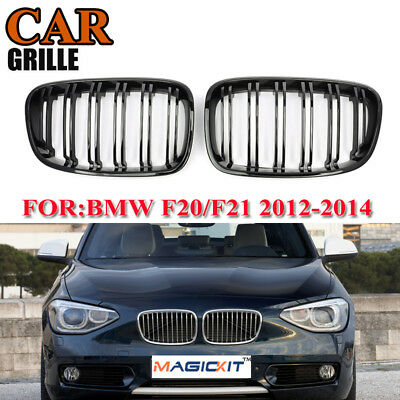 Pair Gloss Black Double Slat Front Grilles for BMW F20 F21 1 Series 12-14 128i