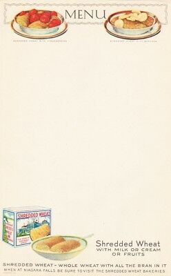(2) 1920s NABISCO SHREDDED WHEAT CEREAL LITHO PAPER DINER MENU COLORFUL GRAPHICS