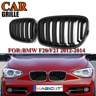 2X ABS Front Kidney Grill 2-Line For BMW F20 F21 1 Series 12-14 Matte Black High