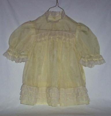 Vintage Sheer Yellow Dotted Swiss Dress For Little Girl Or Big Doll