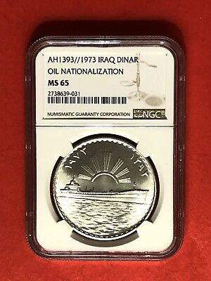 Iraq-1973(Ah1393)1 Dinar Silver Coin (Oil Nationalization),graded By Ngc 65.rare