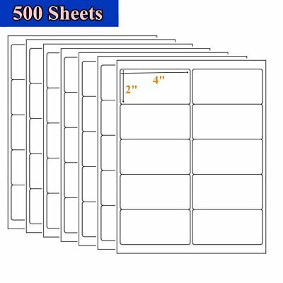 "5000 2"" x 4"" White Self Adhesive Mailing Postage Shipping Labels 10 Up 500 Sheet"