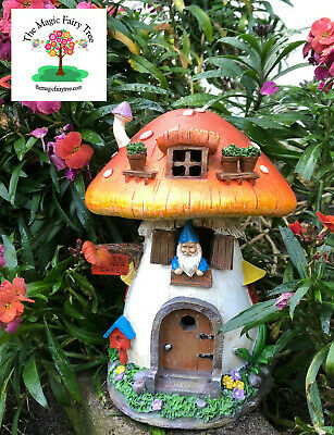 Solar Cosy Cafe Mushroom Gnome Home House Fairies Fairy Garden Decor Light