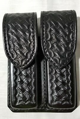 Don Hume D407 Dual Magazine Holder Case Holster 800A Black Leather Basketweave