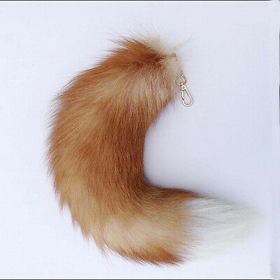 1x New Genuine Fox Tail Keychain Fur Tassel Bag Tag Charm (35-45cm)