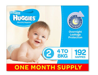 Huggies Ultra Dry Nappies, Boys, Size 2 (4-8kg) 192 Count, One-Month Supply Baby